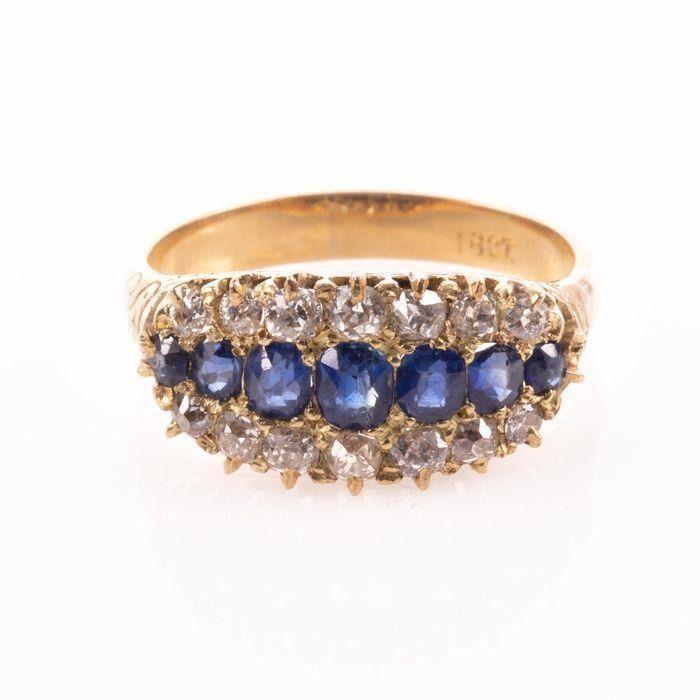 18 kt. Yellow gold - Victorian Ring - 0.50 ct Diamonds