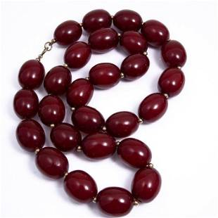FREE POST Yellow gold - Art Deco Red Amber Necklace