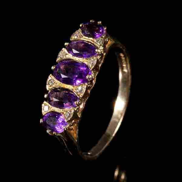 FREE POST 9 kt. Yellow gold - Ring Amethyst - Diamond