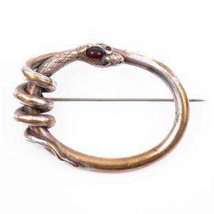 FREE POST Victorian Pinchbeck Snake Brooch with Garnet