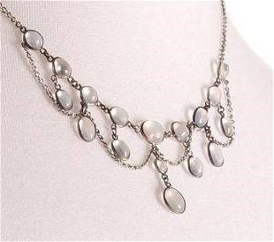 FREE POST Victorian Silver Moonstone Necklace