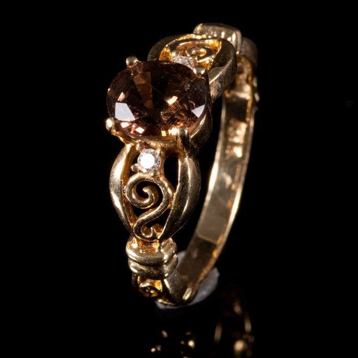 FREE POST 14 kt. Yellow Gold Tourmaline & Diamond Ring