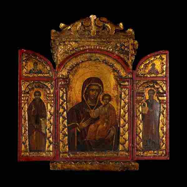 XIX Century Religious Polychrome Icon Triptych -
