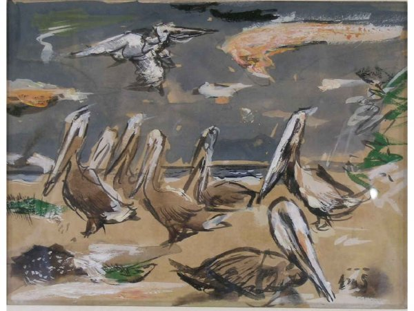2: Schiwetz, Buck - Pelicans, Pair of Paintings