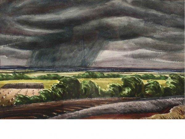 162: Bearden, Ed - Storm on the Plains Watercolor