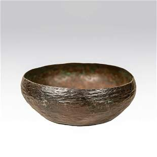 Arts and Crafts period hand hammered copper bowl