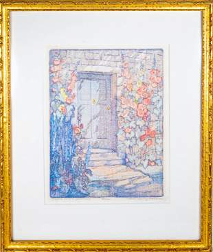 Jane Berry Judson (1865-1935) colored woodblock print