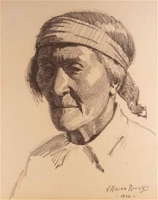 J.Mason Reeves charcoal drawing, Native American