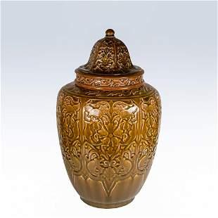 Rookwood covered porcelain vase, rabbits - Conant