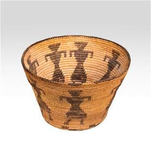 Pima Indian basket with female figures