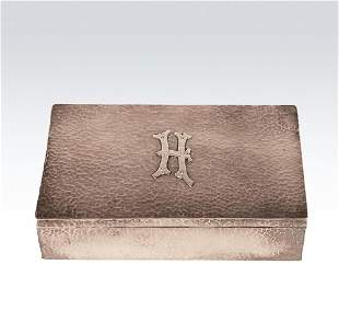 John O. Bellis hand hammered sterling silver box