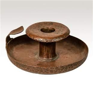 Roycroft copper riveted Chamber Candlestick