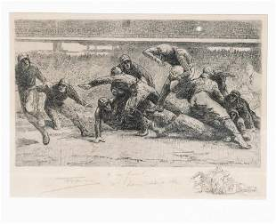 Henri Farre (1871-1934) etching Bears at Stagg Field