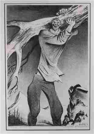 William Gropper Lithograph, Paul Bunyan