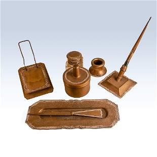 Shreve & Co. silver on copper desk set