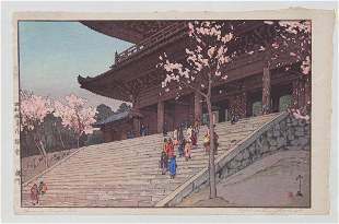 Hiroshi Yoshida woodblock print Chionin Temple Gate