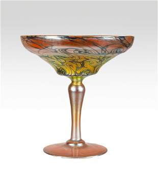 Quezal gold compote in the threaded pattern