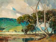Large Orrin White Oil Painting Sycamores and Lake