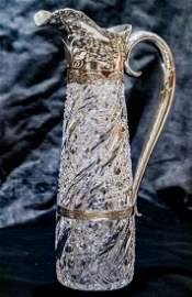 Incredible J. Hoare Gorham Silver Cut Glass Ewer