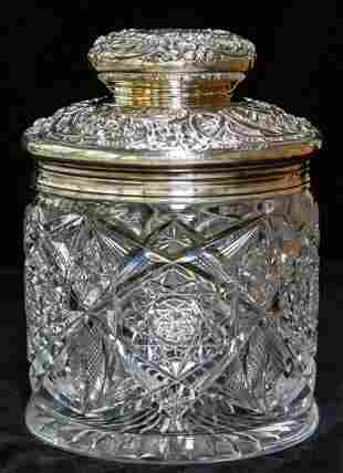 J. Hoare Sterling Silver Brilliant Cut Glass Humidor