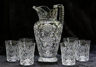 RARE Hawkes Queens Water Set Brilliant Cut Glass