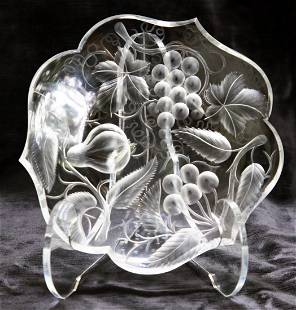 """Tuthill 3 Fruits Engraved 7"""" Plate Brilliant Cut Glass"""