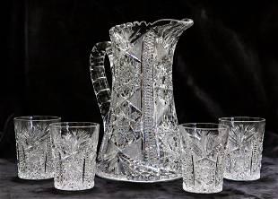 Rare Blackmer Columbia Water Set Brilliant Cut Glass