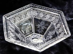 Awesome Sinclaire Hexagonal Bowl Cut and Engraved Glass