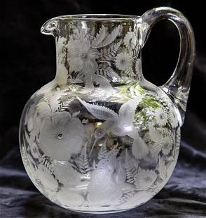 Incredible Engraved Pitcher w/ Hummingbirds Cut Glass