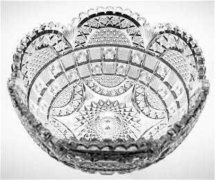 Unusual Checkerboard American Brilliant Cut Glass Bowl