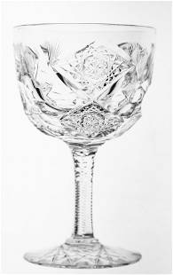 Hawkes Queens AmericanBrilliant Cut Glass Red Wine Stem