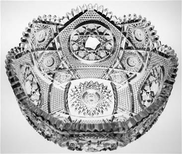 Rare Clark Waldorf Deep Brilliant Cut Glass Bowl