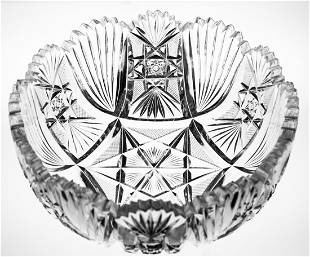 Rare Clark Seashells Brilliant Cut Glass Crystal Bowl