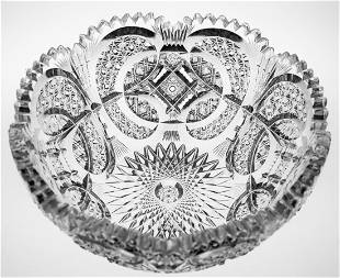 Incredibly Detailed Brilliant Cut Glass Crystal Bowl