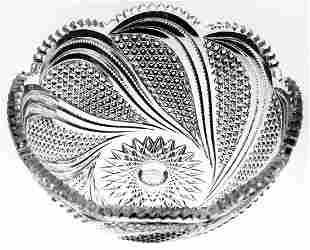 Beautiful Swirling Hobnail Brilliant Cut Glass Bowl