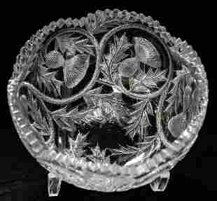 California Cut Glass Thistle Brilliant Crystal Bowl
