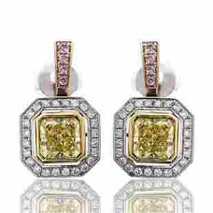 Platinum & Gold Radiant Cut Diamond Earrings