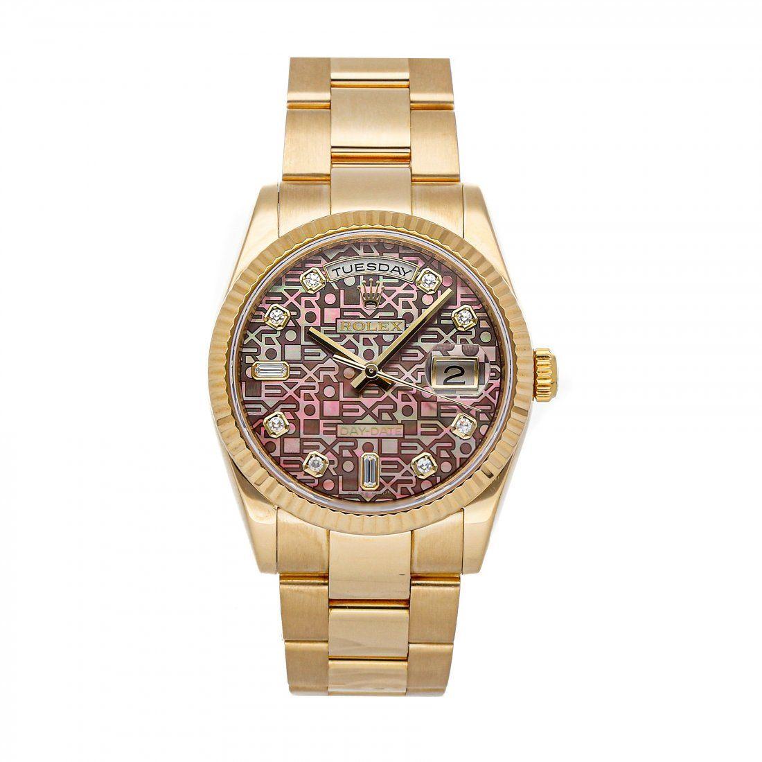 Rolex Day-Date 36 Yellow Gold Diamond Watch 118238