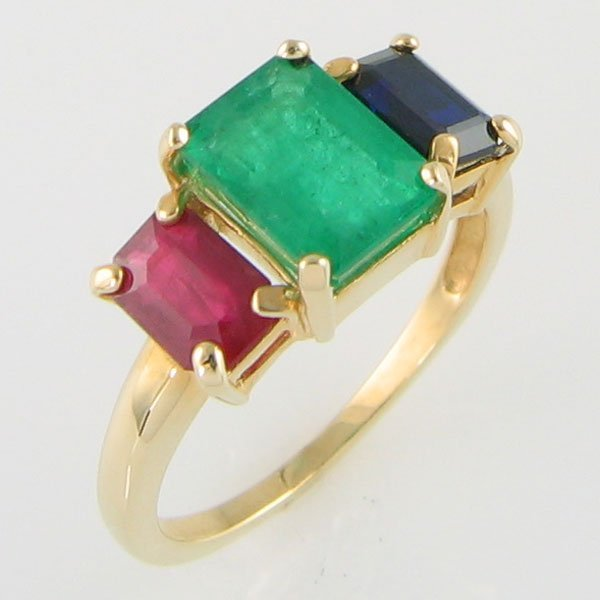 1019: 14KT RUBY SAPPHIRE EMERALD GOLD RING 2.31TCW SZ 6