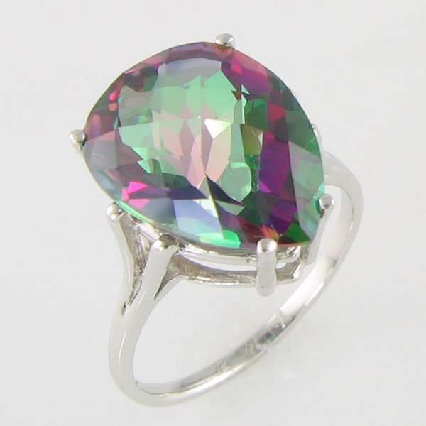 1024: 10KT MYSTIC FIRE TOPAZ GOLD RING 10.50 TCW SIZE 7