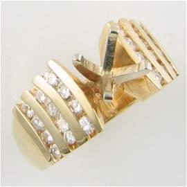 1086: 14KT DIAMOND SEMI MOUNT GOLD RING 0.60 TCW SIZE 5