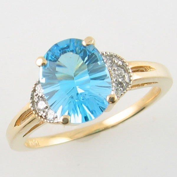 2009: 14KT BLUE TOPAZ DIAMOND GOLD RING 2.56 TCW SIZE 6