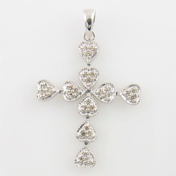 3015: 14KT DIAMOND CROSS PENDANT 0.14 TCW WHITE GOLD