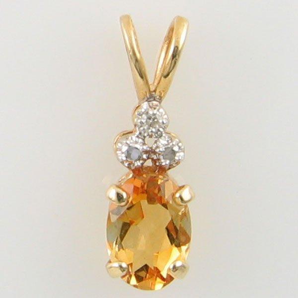 3023: 14KT CITRINE DIAMOND GOLD PENDANT 0.59TCW