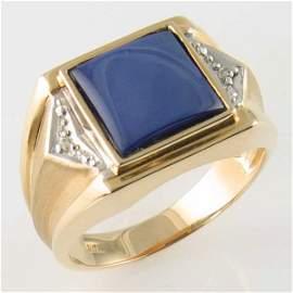 3044: 14KT MEN'S SAPPHIRE DIAMOND GOLD RING SIZE 10.5
