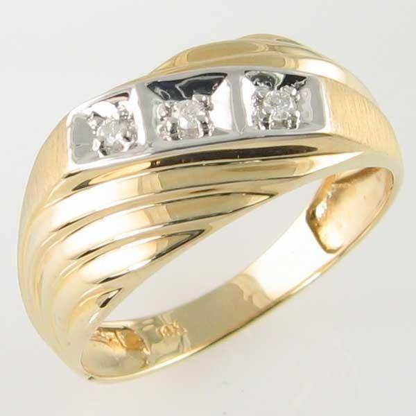 4002: 14KT MEN'S DIAMOND GOLD RING 0.09TCW SIZE 11.