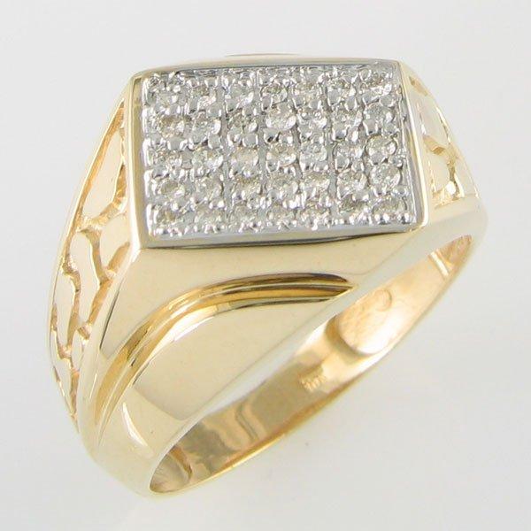 4010: 10 KT MEN'S DIAMOND GOLD RING  0.53TCW SIZE 11.25