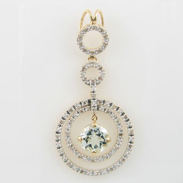 4014: 14KT AQUAMARINE DIAMOND GOLD PENDANT 1.12 TCW