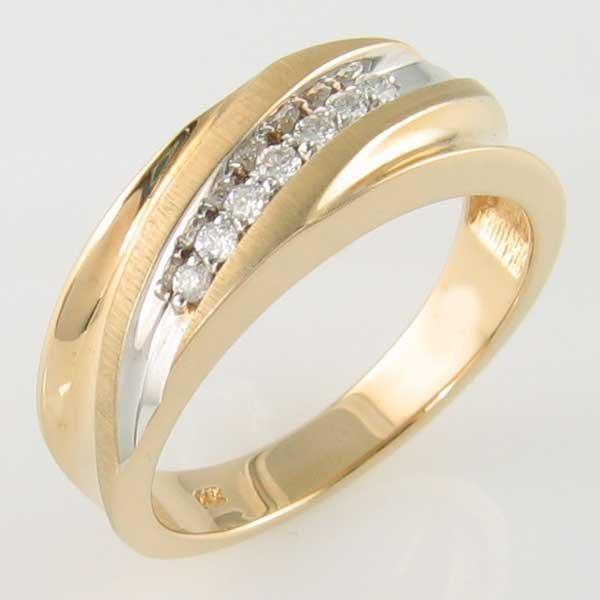 4020: 14KT MEN'S DIAMOND GOLD RING 0.14TCW SIZE 10.25
