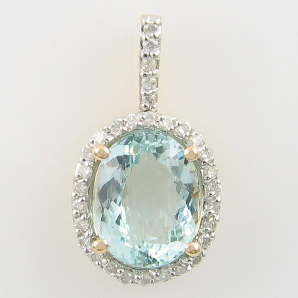 4032: 14KT AQUAMARINE DIAMOND GOLD PENDANT 3.34 TCW